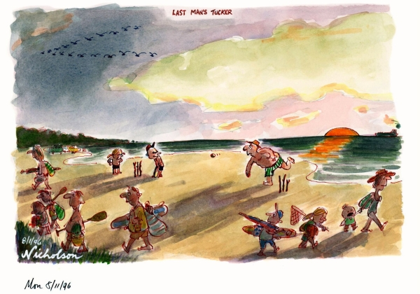 1996-01-05 beach cricket last man's tucker Australian cartoon 600