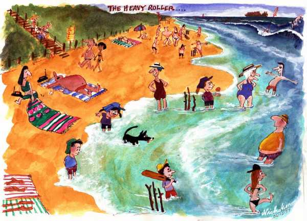 1997-12-24 beach cricket the heavy roller brought on Australian cartoon 600