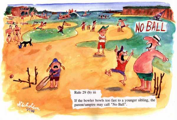 1997-12-30 Beach Cricket sibling bowls too fast  cartoon Australian