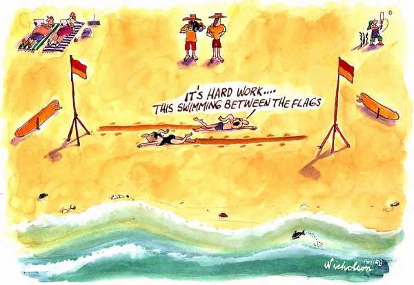 Beach summer holiday life-saving swim between flags hard work 1998-01-15