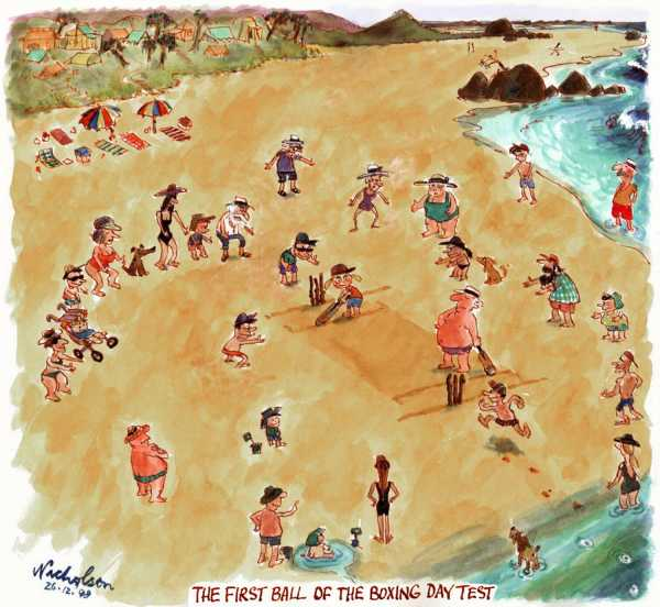 Beach cricket summer holidays first ball of Boxing Day test 1998-12-26