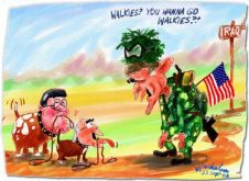 FLASHBACK: In view of Chilcot Reprot on Blair rushing into Iraq War in 2002, here is a flashbock to a favorit e cartoon of mine about Howard and Downer eager to go into the Iraq war with Bush.