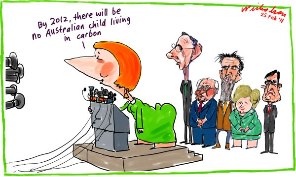 Carbon tax Julia Gillard Bob Brown Greg Combet Christine Milne Rob Oakeshott Tony Windsor no child