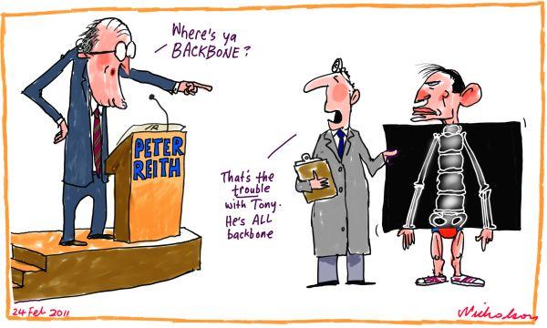 Peter Reith Tony Abbott more spine