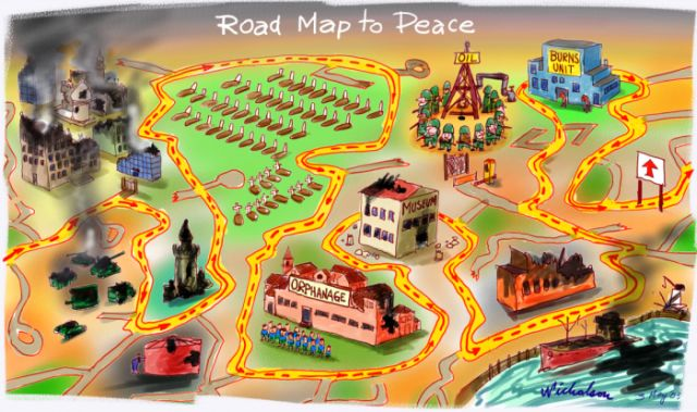 an analysis of the road map to peace The roadmap for peace or road map for peace was a plan to resolve the israeli– palestinian  off the ceasefire with israel international criticism of israel  increased because israel was widely believed to be unwilling to respect the truce.