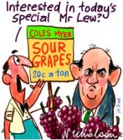 Lew sour grapes on Coles Myer 200226
