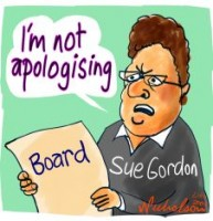 Sue Gordon stands by board 226233