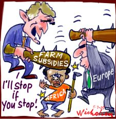 As the Europe & US play out a charade of negotiations, it is Africa and Asia which is suffering from food shortages.  |  Cartoon by Peter Nicholson; on July 5, 2005; source and courtesy - nicholsoncartoons.com  |  Click for larger image.