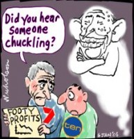 Packer chuckles at footy squeeze 226
