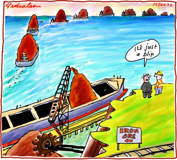 Pessimists say Iron ore recovery a blip mining economics cartoon 2012-01-12