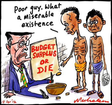 Wayne Swan Foreign aid cut for surplus miserable
