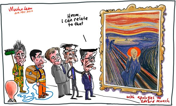 2012-05-04 The Scream in politics Munch Gillard Combet Swan Shorten Conroy Smith