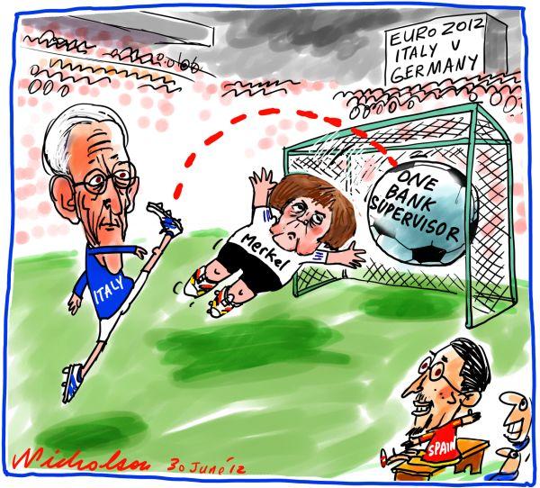 2012-06-30 Italy Spain kick goal over merkel in Euro summit
