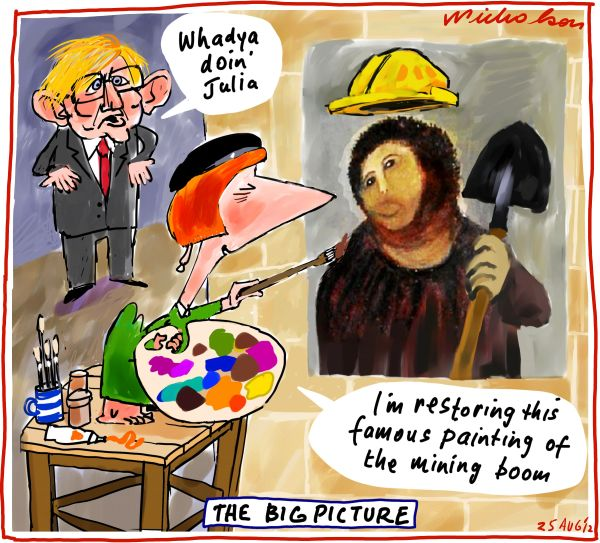 2012-08-25 Julia Gillard restoring the mining boom a la Borja Spain Jiminez fresco restoration Business