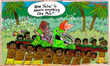 2012-08-30 Julia Gillard arrives Cook Is Pacific Is Forum on  litter unlike Nauru