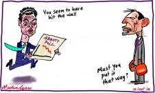 2012-09-18 Tony Abbott Christopher Pyne bad polls hit wall