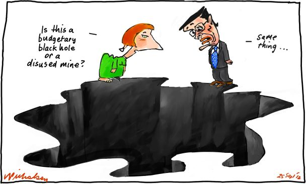 Budget black hole cartoon Gillard Swan mining