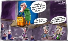 China war risk containment US Malcolm Fraser cartoon Asialink speech Wayne Swan Christine Milne 2012-09-26
