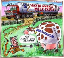 Wayne Swan cannot resist milking the Superannuation cow Business cartoon 2012-09-29