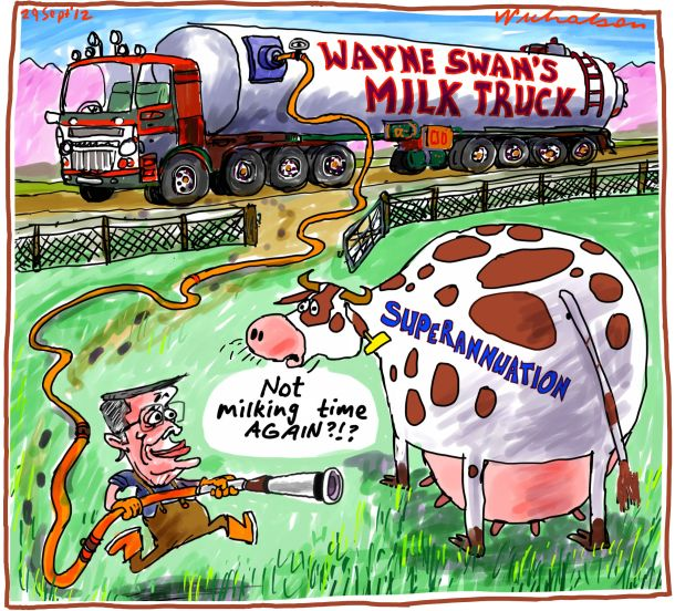 Wayne Swan milks Superannuation cow cartoon