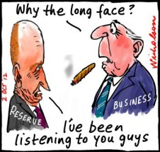 Glenn Stevens of Reserve Bank long face after dire warnings from business cartoon 2012-10-02