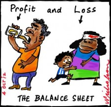 "Grog aborigines Queensland government to soften alcohol restrictions on some indigenous communities cartoon captions ""Profit and Loss: The Balance Sheet"" 2012-10-04"