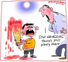 """Boom not finished if wise investment says ANZ.  Icecream melts. Business Cartoon, """"Stop whingeing! There's still plenty more"""" 2012-10-06"""