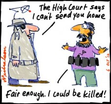 High Court rules against ASIO veto for asylum seekers deemed terror suspects. cartoon 2012-10-06
