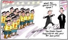 Dinner very dangerous these days: cartoon misogyny sexism political correctness Alan Jones CFMEU Gillard Abbott squad for jokes 2012-10-12