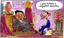 Tony Abbott no mention turning boats to SBY in talks Jakarta Indonesia megaphone cartoon 2012-10-17