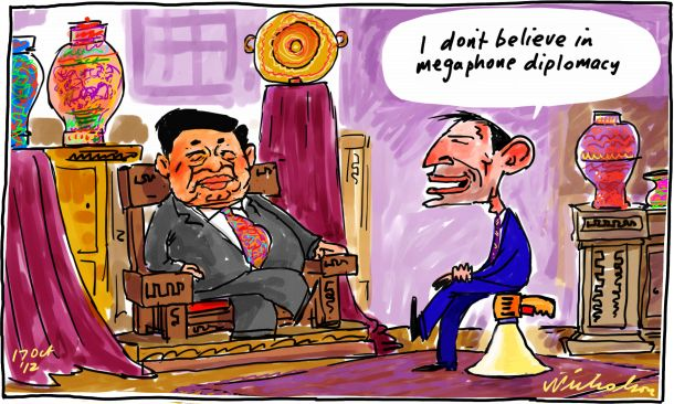 Tony Abbott no mention turning boats to SBY in talks Jakarta Indonesia megaphone cartoon 2012-10-17