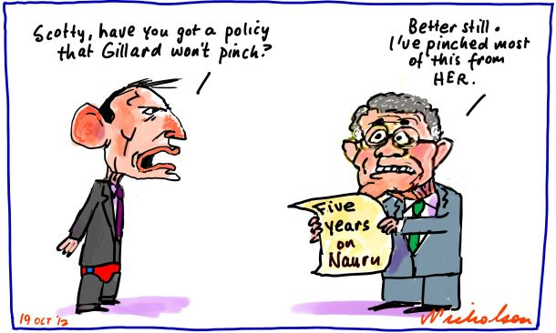 Scott Morrison Tony Abbott Liberals tough five year policy on Nauru boat people cartoon 2012-10-19