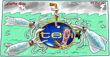 Channel Ten boss James Warburton submarine attacked by giant squid Media cartoon illustration 2012-10-22