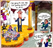 James Packer seizes poll position for high roller casino market for Crown Echo cgairman John O'Neill wrongfooted business cartoon 2012-10-27
