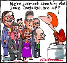 Julia Gillard Asian Century white paper who will pay for teaching Asian languages states premiers not happy cartoon 2012-10-30