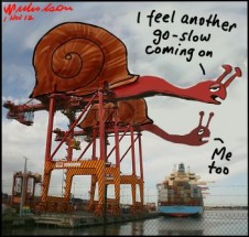 Falling prodiuctivity on wharves. Go slows, union militancy, incomplete competition among stevedore companies cartoon 2012-11-01