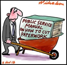 Tony  Abbott foreshadows red tape cuts. Public servants to get bonuses for cutting regulation cartoon 2012-11-02