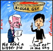 Nick Greiner radical report on GST should be higher and wider Penny Wong horrified cartoon 2012-11-03