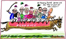 Reserve Bank board usual Melbourne Cup Day deliberation on interest rates Glenn Stevens use whip Economics cartoon 2012-11-06