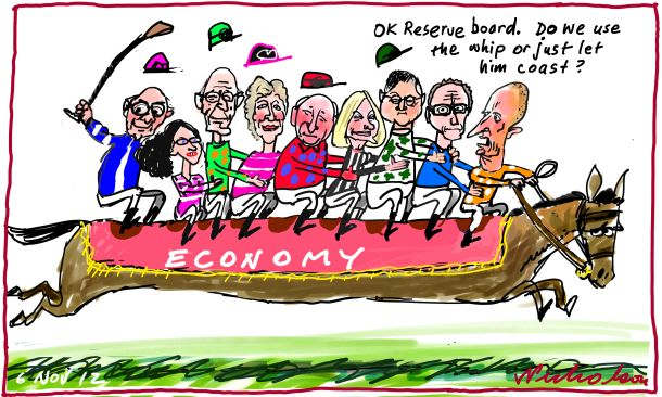 Reserve Bank board usual Melbourne Cup Day deliberation use whip Glenn Stevens economics cartoon 2012-11-06