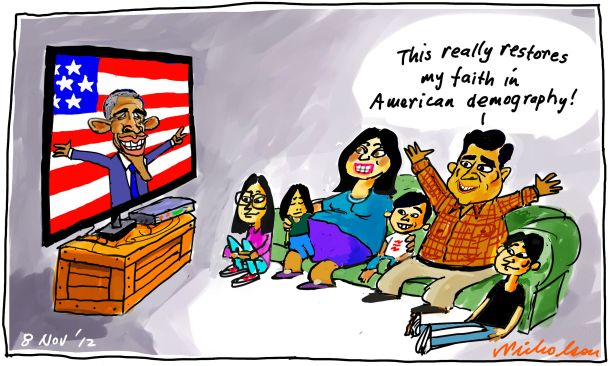 Obama presidential US election demography latinos hispanic vote cartoon 2012-11-07