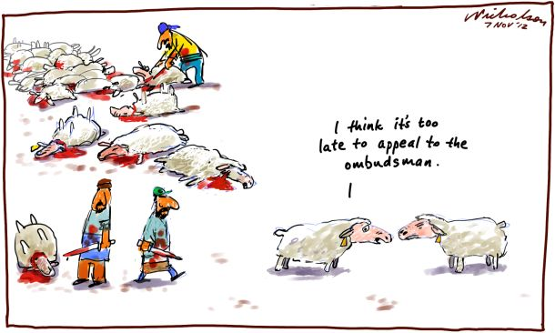 "Live sheep export Pakistan animal slaughter ""call in ombudsman"" cartoon 2012-11-07"