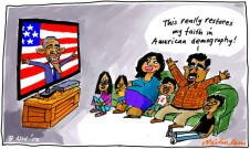 "Barack Obama wins Hispanic vote vital ""restores my faith in demography"" cartoon 2012-11-08"