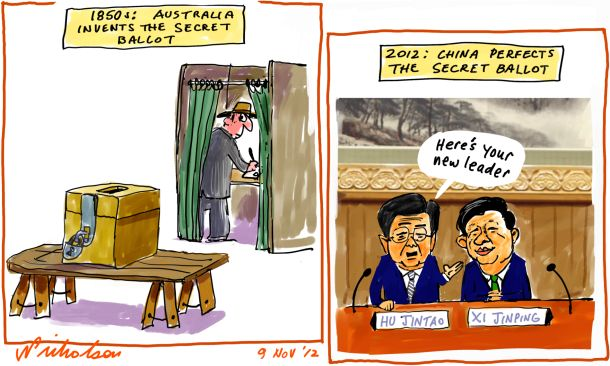 China new leadership announced Xi Jinping Hu Jintao secret ballot australia cartoon 2012-11-09