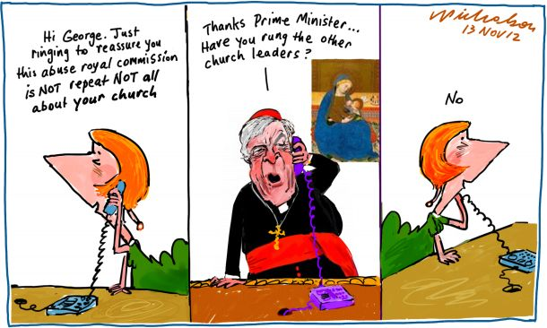 Child sex abuse Cardinal Pell Julia Gillard Royal Commission cartoon 2012-11-13