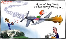 Paul Keating Keith Murdoch lecture attacks US influence drone cartoon 2012-11-15