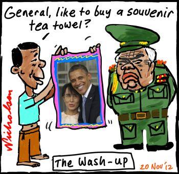 Obama visits Burma hugs Aung San generals teatowell 2012-11-20