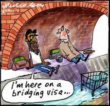 Labor Government  brings in bridging visas a la Pacific solution asylum seekers refugees cartoon 2012-11-22