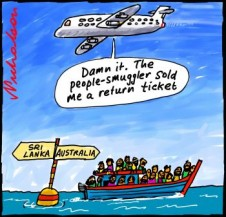 Many Sri Lankan boat people returned immediately because not Tamil asylum seekers refugees cartoon  2012-11-23