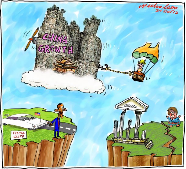 Chinese economy drags Australia in wake others becalmed Obama US Angela Merkel Greece business cartoon 2012-11-24